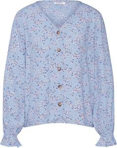 Niebieska bluzka Pieces z dekoltem w kształcie litery v