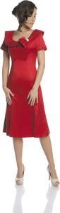 Sukienka Fokus rozkloszowana z bawełny midi