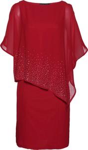Czerwona sukienka bonprix bpc selection premium z krótkim rękawem z okrągłym dekoltem