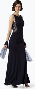 Granatowa sukienka Luxuar Fashion maxi bez rękawów z okrągłym dekoltem