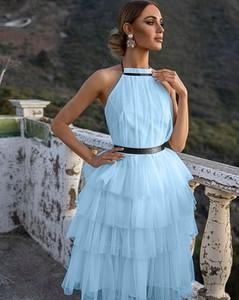Niebieska sukienka Emo z okrągłym dekoltem mini bez rękawów