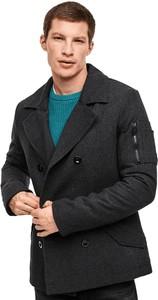 Czarny płaszcz męski Q/s Designed By - S.oliver z dzianiny