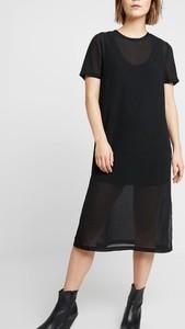 Czarna sukienka Kiomi w stylu casual midi z krótkim rękawem