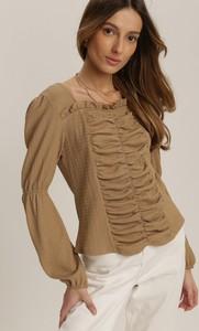 Brązowa bluzka Renee w stylu casual z okrągłym dekoltem z długim rękawem
