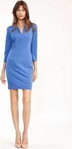 Niebieska sukienka Nife w stylu casual z dekoltem w kształcie litery v z długim rękawem