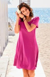Różowa sukienka Cellbes z krótkim rękawem dla puszystych w stylu casual
