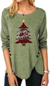 Zielona bluzka Sandbella z długim rękawem w bożonarodzeniowy wzór