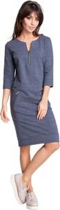 Niebieska sukienka Be w stylu casual midi