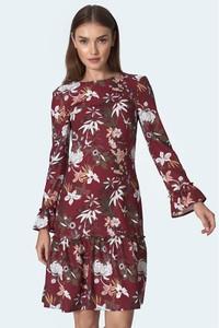 Czerwona sukienka Nife mini z okrągłym dekoltem
