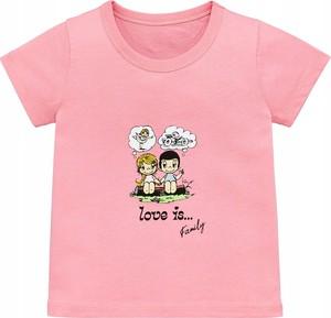 Różowa koszulka dziecięca Inna marka z bawełny