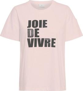 Różowy t-shirt Kaffe z krótkim rękawem z okrągłym dekoltem