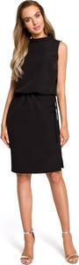 Czarna sukienka Merg midi z okrągłym dekoltem