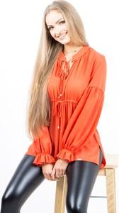 Pomarańczowa bluzka ONE ze sznurowanym dekoltem z szyfonu
