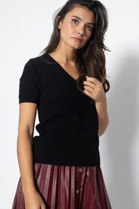 T-shirt Authentic Cashmere z kaszmiru w stylu casual z dekoltem w kształcie litery v