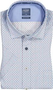Niebieska koszula Olymp z krótkim rękawem w stylu casual