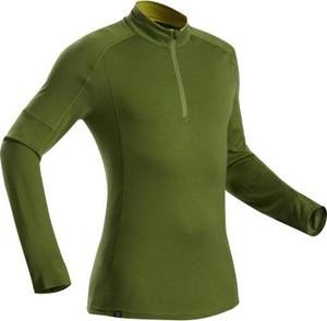 Zielona koszulka z długim rękawem Forclaz z wełny