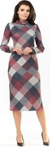 Sukienka Awama z golfem midi z długim rękawem