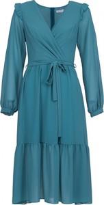 Sukienka VISSAVI midi z szyfonu w stylu casual