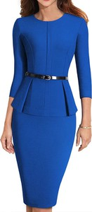 Niebieska sukienka Arilook z okrągłym dekoltem ołówkowa midi