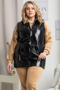 Czarna kamizelka KARKO w stylu casual długa z tkaniny