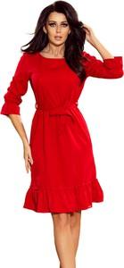 Czerwona sukienka NUMOCO oversize z okrągłym dekoltem