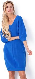 Niebieska sukienka Fobya mini z długim rękawem