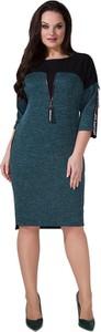 Zielona sukienka Art Mio z długim rękawem z okrągłym dekoltem