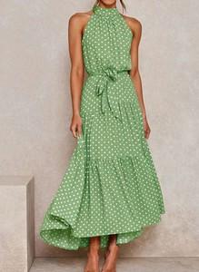 Zielona sukienka Arilook w stylu boho midi z okrągłym dekoltem