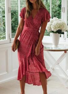 Czerwona sukienka Cikelly maxi z tiulu kopertowa