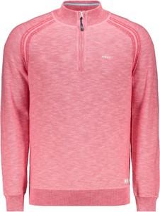 Różowy sweter New Zealand Auckland ze stójką z bawełny
