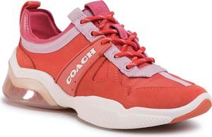 Czerwone buty sportowe Coach sznurowane