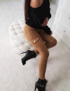 Brązowe spodnie Spodnie Bojówki Camel Zamsz z bawełny