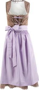 Fioletowa sukienka bonprix bpc bonprix collection bez rękawów z dekoltem w karo rozkloszowana