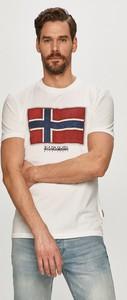 T-shirt Napapijri z krótkim rękawem w sportowym stylu z dzianiny