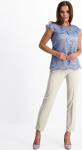 Niebieska bluzka Lavard z tkaniny z krótkim rękawem