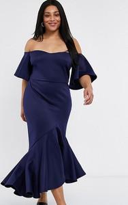 Granatowa sukienka True Violet Plus hiszpanka baskinka z krótkim rękawem