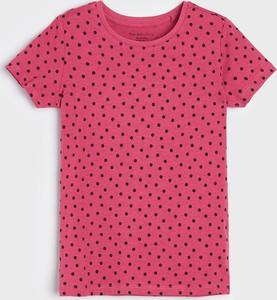 Różowa bluzka dziecięca Sinsay z bawełny w groszki