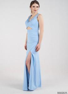 Niebieska sukienka Rokado maxi dopasowana