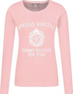 Różowa bluzka Tommy Hilfiger z długim rękawem