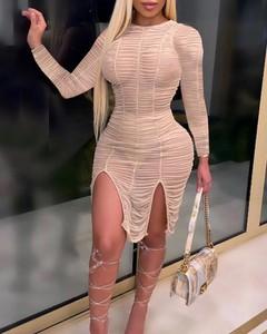 Sukienka Kendallme dopasowana z długim rękawem mini