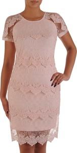 Sukienka POLSKA z krótkim rękawem z okrągłym dekoltem