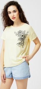 Żółta bluzka Moodo z okrągłym dekoltem z bawełny z krótkim rękawem