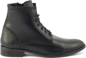 Czarne buty zimowe butyolivier.pl ze skóry