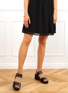 Czarne sandały Buty Damskie ze skóry ekologicznej na platformie