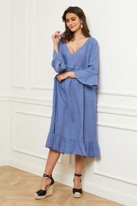 Niebieska sukienka Fleur De Lin z dekoltem w kształcie litery v midi z długim rękawem