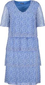 Niebieska sukienka Samoon mini z dekoltem w kształcie litery v z krótkim rękawem