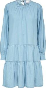 Niebieska sukienka Selected Femme z bawełny z długim rękawem mini