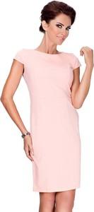 4dd5fa5e3d Różowa sukienka Coco Style z okrągłym dekoltem z krótkim rękawem