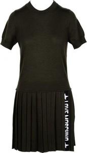 Czarna sukienka Love Moschino z wełny z krótkim rękawem