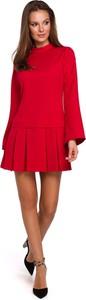Sukienka Makeover mini z okrągłym dekoltem z długim rękawem